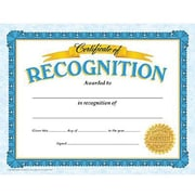"Trend Enterprises® Blue Border Certificate of Recognition, 8 1/2""(L) x 11""(W)"
