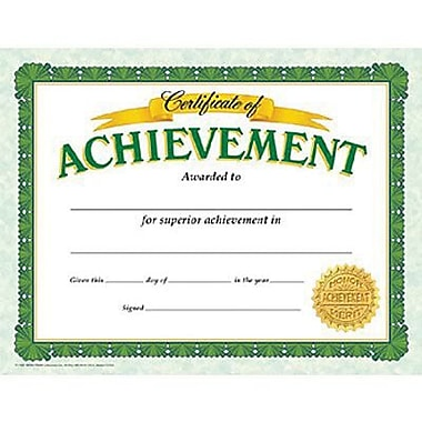 Trend Enterprises® Certificate of Achievement, 8 1/2in.(L) x 11in.(W), Grades 2nd - 9th