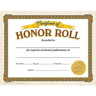 Trend Enterprises® Certificate of Honor Roll, 8 1/2in.(L) x 11in.(W)