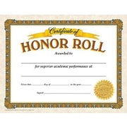 "Trend Enterprises® Certificate of Honor Roll, 8 1/2""(L) x 11""(W)"