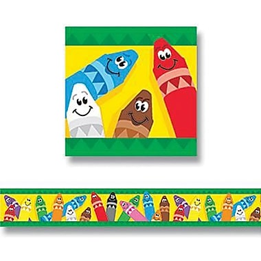 Trend Enterprises® pre-kindergarten - 9th Grades Bulletin Board Border, Colorful Crayons