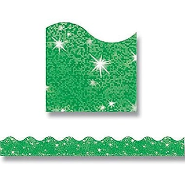 Trend Enterprises® pre-kindergarten - 9th Grades Scalloped Terrific Trimmer, Green Sparkle