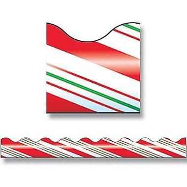Trend Enterprises® pre-kindergarten - 9th Grades Scalloped Terrific Trimmer, Candy Cane Stripes
