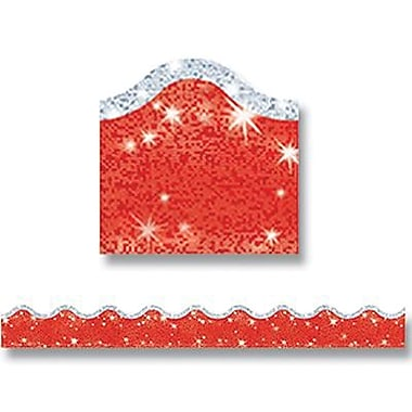 Trend Enterprises® pre-kindergarten - 9th Grades Scalloped Border, Super Red Sparkle