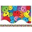 "Teacher Created Resources TCR4125 35"" x 2.187"" Scalloped Happy Faces Border Trim, Multicolor"