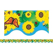 "Teacher Created Resources TCR4133 35"" x 2.187"" Scalloped Sunflowers Border Trim, Multicolor"