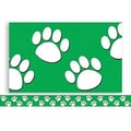 Teacher Created Resources® P-12th Grades Straight Bulletin Board Border Trim, Green/White Paw Prints