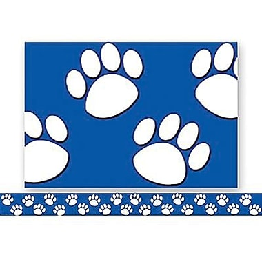 Teacher Created Resources® P-12th Grades Straight Bulletin Board Border Trim, Blue/White Paw Prints