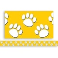 Teacher Created Resources® P-12th Grades Straight Bulletin Board Border Trim, Gold/White Paw Prints