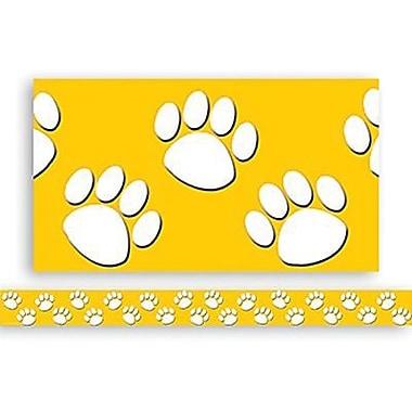 Teacher Created Resources® P-12th Grades Straight Bulletin Board Border Trim, Gold/White Paw Prints