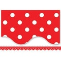 Teacher Created Resources® P-12th Grades Scalloped Bulletin Board Border Trim, Red Mini Polka Dots