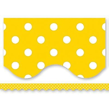 Teacher Created Resources TCR4668 35in. x 2.187in. Scalloped Polka Dots Border Trim, Yellow/White