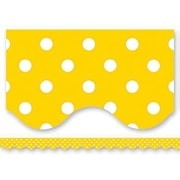 "Teacher Created Resources TCR4668 35"" x 2.187"" Scalloped Polka Dots Border Trim, Yellow/White"