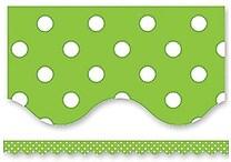 Teacher Created Resources® P-12th Grades Scalloped Bulletin Board Border Trim, Lime Mini Polka Dots