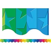 Teacher Created Resources® P-12th Grades Scalloped Bulletin Board Border Trim, Stars Rainbow