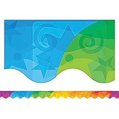 Teacher Created Resources® P-12th Grades Scalloped Bulletin Board Border Trim, Abstract Rainbow