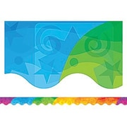 "Teacher Created Resources TCR4675 35"" x 2.187"" Scalloped Abstract Rainbow Border Trim, Multicolor"