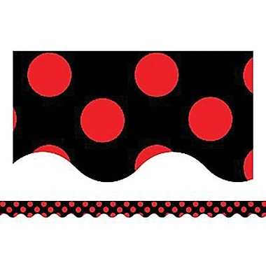 Teacher Created Resources® Scalloped Bulletin Board Border Trim, Red Mini Polka Dots On Black