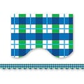 Teacher Created Resources® P-12th Grades Scalloped Bulletin Board Border Trim, Blue/Green Plaid