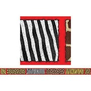 "Teacher's Friend TF-2958 36"" x 3"" Straight Safari Bulletin Board Border With Corners, Multicolor"