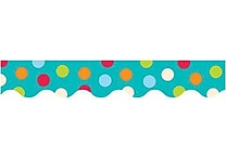 Creative Teaching Press 1038 35' x 2.25' Scalloped Dots on Turquoise Border, Multicolor