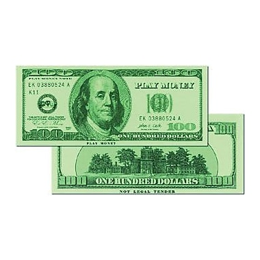 Learning Advantage™ $100 Bills Set Money, 50 Bills, Grades Kindergarten+