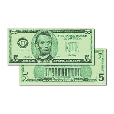 Learning Advantage™ $5 Bills Set Money, 100 Bills, Grades Kindergarten+