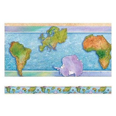 Edupress® 2nd - 12th Grades Straight Spotlight Bulletin Board Border, World Continents