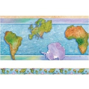 "Edupress Spotlight Borders EP3304 39"" x 3"" Straight Social Studies World Continents Border, Multicolor"