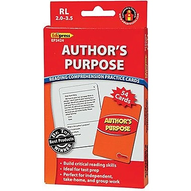 Edupress® Reading Comprehension Practice Card, Author's Purpose, Reading Level 2.0 - 3.5