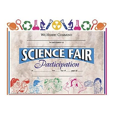 Hayes® Science Fair Participation Certificate, 8.5in.(L) x 11in.(W)