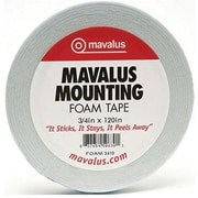 "Mavalus MAVFOAM3410 0.75"" x 120"" Double-Sided Foam Tape, White"