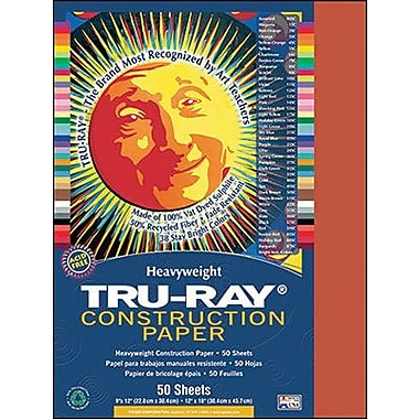 Pacon® Tru-Ray® Sulphite Construction Paper, Festive Red, 9in.(W) x 12in.(L), 50 Sheets