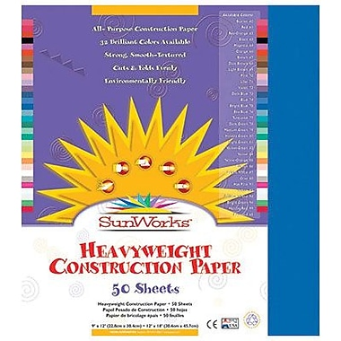 Pacon® SunWorks® Groundwood Construction Paper, Bright Blue, 9in.(W) x 12in.(L), 50 Sheets