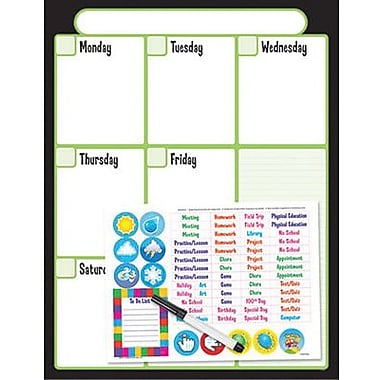 Trend Enterprises® Wipe-Off® Weekly Calendar Kit (Cling Events), Black