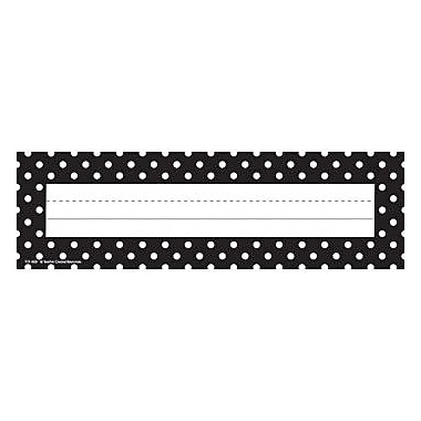 Teacher Created Resources® Infant - 6th Grades Name Plate, Black Polka Dots