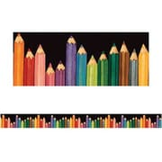 "Teacher Created Resources TCR4060 35"" x 3"" Straight Colored Pencils Border Trim, Multicolor"