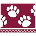 Teacher Created Resources® P-12th Grades Straight Bulletin Board Border Trim, Maroon/White Paw Print