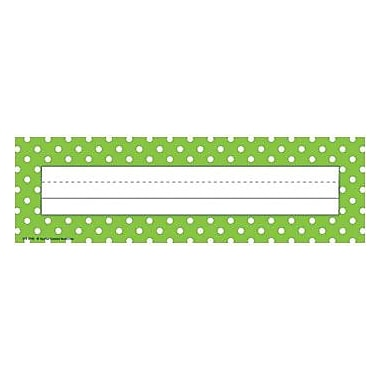 Teacher Created Resources® Infant - 6th Grades Name Plate, Lime Polka Dots