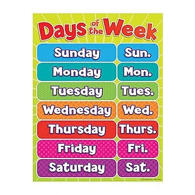 Teacher's Friend® Days of the Week Chart, Grades Pre Kindergarten ...