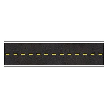 Teacher's Friend TF-8140 24in. x 6in. Straight Jumbo Road Borders, Black/Yellow