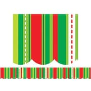 Creative Teaching Press™ P-12th Grades Scalloped Bulletin Board Border, Holiday Stripes and Stitches
