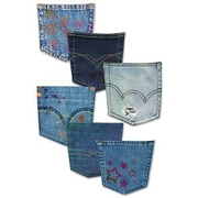 "Edupress EP3151 6"" x 8"" DieCut Clothing Bulletin Board Denim Pockets Accents, Multicolor"