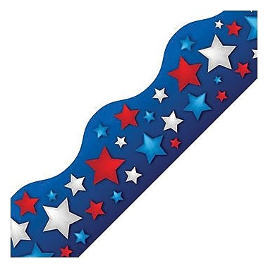 Edupress® pre-school - 12th Grades Scalloped Simply Border, Patriotic Stars