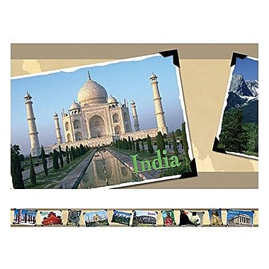 Edupress E3W-EP3222 3in. x 3in. in.Around The Worldin. Straight Photo Border, Assorted