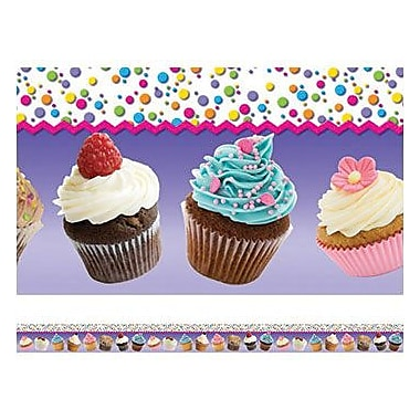 Edupress® pre-school - 12th Grades Straight Layered-Look Border, Cupcakes
