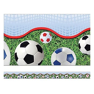 Edupress Layered-Look Border EP3264 39in. x 3in. Straight Soccer Sport Border, Multicolor