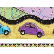 "Edupress EP3265 39"" x 3"" Straight Travel Layered Look Border, Multicolor"