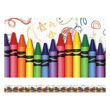 Edupress® pre-school - 12th Grades Straight Layered-Look Border, Crayons