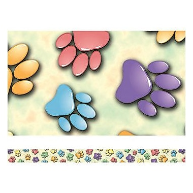 Edupress® pre-school - 12th Grades Straight Spotlight Border, Paw Prints